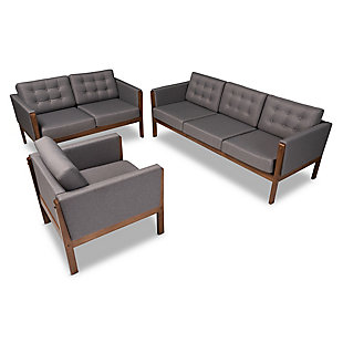 Baxton Studio Lenne Mid-Century Modern Gray Fabric Upholstered Walnut Finished 3-Piece Living Room Set, , rollover
