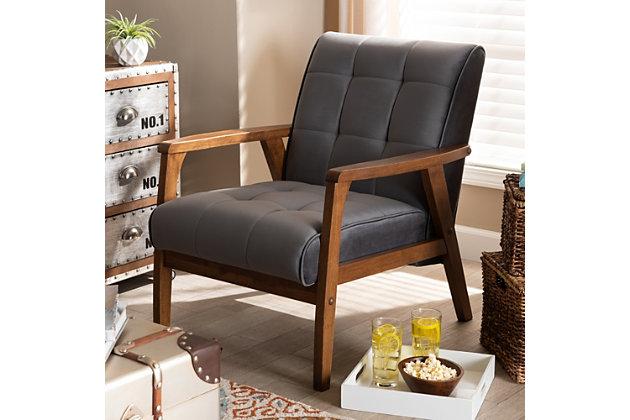 Baxton Studio Asta Mid-Century Modern Gray Velvet Fabric Upholstered Walnut Finished Wood Armchair, Gray, large