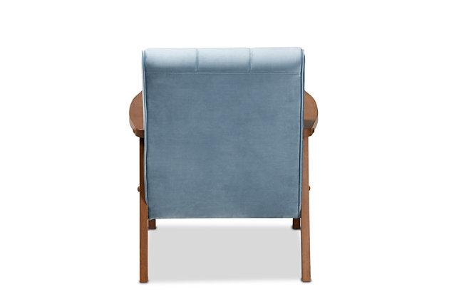 Baxton Studio Asta Mid-Century Modern Light Blue Velvet Fabric Upholstered Walnut Finished Wood Armchair, Blue, large