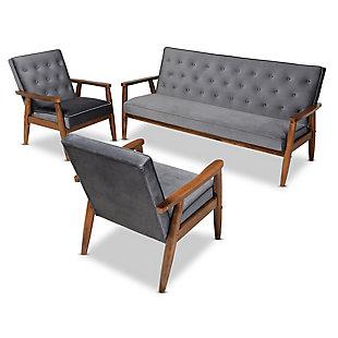 Baxton Studio Sorrento Mid-century Modern Gray Velvet Fabric Upholstered Walnut Finished 3-Piece Wooden Living Room Set, Gray, rollover