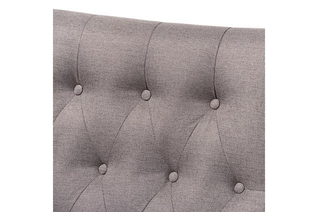 Baxton Studio Naeva Mid-Century Modern Gray Fabric Upholstered Walnut Finished Wood 2-Piece Armchair and Footstool Set, , large