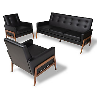 Baxton Studio Perris Mid-Century Modern Black Faux Leather Upholstered Walnut Finished Wood 3-Piece Living Room Set, Black, rollover