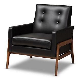 Baxton Studio Perris Mid-Century Modern Black Faux Leather Upholstered Walnut Finished Wood 3-Piece Living Room Set, Black, large