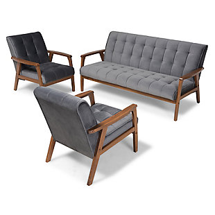 Baxton Studio Asta Mid-Century Modern Gray Velvet Fabric Upholstered Walnut Finished Wood 3-Piece Living Room Set, Gray, rollover