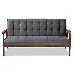 Baxton Studio Asta Mid-Century Modern Gray Velvet Fabric Upholstered Walnut Finished Wood Sofa, Gray, large