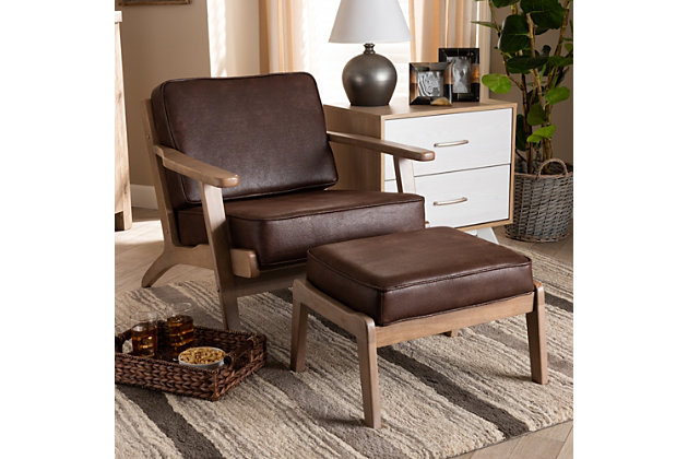 Baxton Studio Sigrid Mid-Century Modern Dark Brown Faux Leather Effect Fabric Upholstered Antique Oak Finished 2-Piece Wood Armchair and Ottoman Set, Brown, large