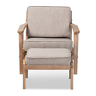 Baxton Studio Sigrid Mid-Century Modern Light Gray Fabric Upholstered Antique Oak Finished 2-Piece Wood Armchair and Ottoman Set, Gray, large
