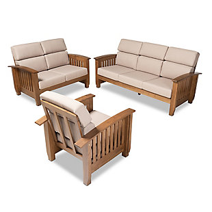 Baxton Studio Charlotte Modern Classic Mission Style Taupe Fabric Upholstered Walnut Brown Finished Wood 3-Piece Living Room Set, , rollover
