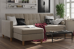 Atwater Living Heidi Storage Futon/Sectional, Tan, rollover