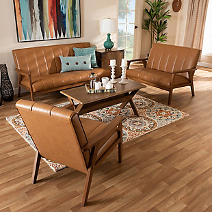 Nikko Tan Faux Leather Upholstered and Walnut Brown Finished Wood 3-Piece Living Room Set, , rollover