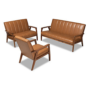 Nikko Tan Faux Leather Upholstered and Walnut Brown Finished Wood 3-Piece Living Room Set, , large