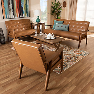 Sorrento Tan Faux Leather Upholstered and Walnut Brown Finished Wood 3-Piece Living Room Set, , large