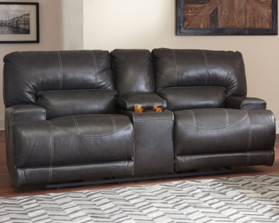 Reclining Sofa Gray Leather Power Product Photo 247