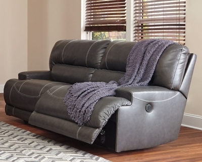 Sofa Gray Leather Reclining Product Photo 420