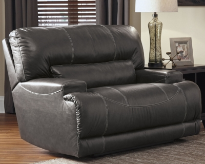Power Recliner Gray Leather Oversized Product Photo 657