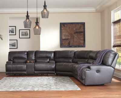 Sectional Gray Leather Piece Product Photo