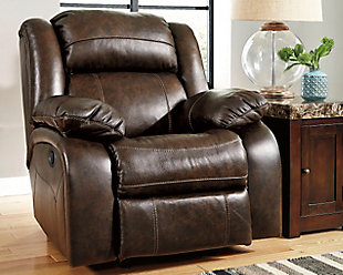 living room furniture item on a white background - Leather Rocker Recliner