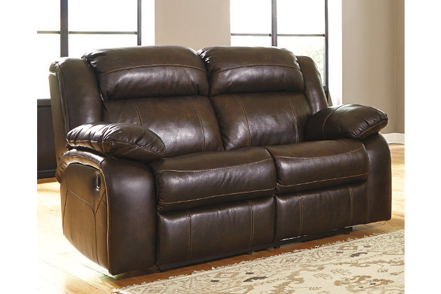 Branton Reclining Loveseat by Ashley HomeStore, Brown, Le...