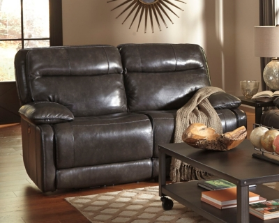 Reclining Loveseat Metal Leather Power Product Photo 210