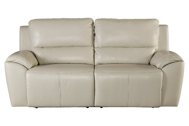Living Room Furniture Item On A White Background. Cream Leather Power  Recliner Chair