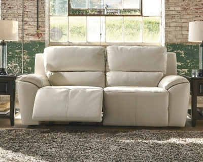 Sofa Cream Leather Reclining Product Photo 325