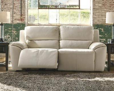 Ashley Valeton Power Reclining Sofa, Cream Leather