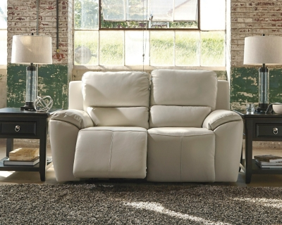 Reclining Loveseat Cream Leather Power Product Photo 267