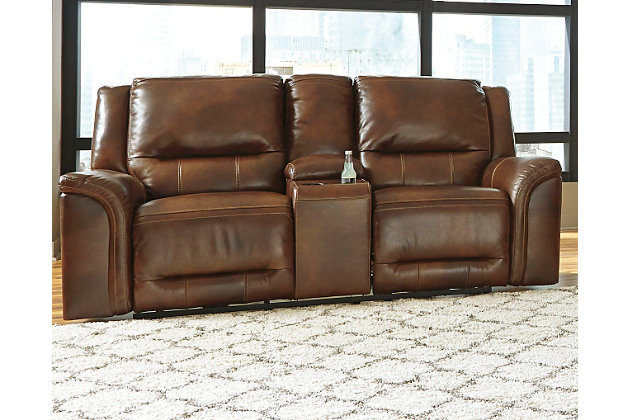 Jayron Reclining Loveseat with Console by Ashley HomeStore, Brown, Leather (100 %)