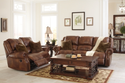 Loveseat Auburn Leather Reclining Product Photo
