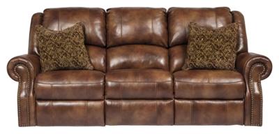 Ashley Walworth Power Reclining Sofa, Auburn Leather