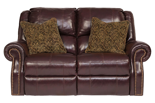 Walworth Reclining Loveseat by Ashley HomeStore, Brown, Leather (100 %)