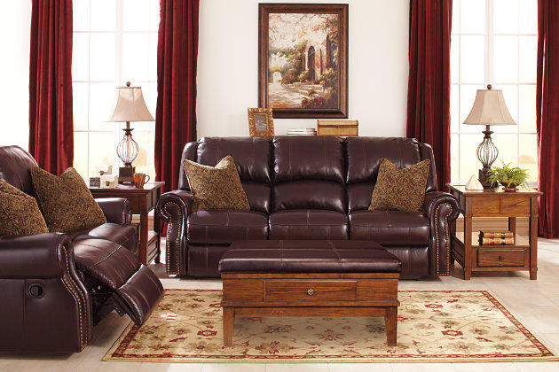 Walworth Reclining Sofa by Ashley HomeStore, Brown, Leather (100 %)