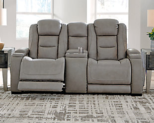 The Man-Den Power Reclining Loveseat with Console, , rollover