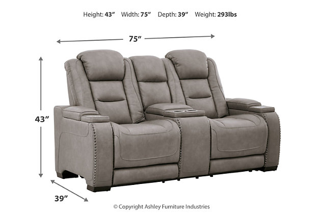 The Man-Den Power Reclining Loveseat with Console, , large