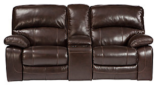 Damacio Glider Reclining Loveseat with Console, Dark Brown, large