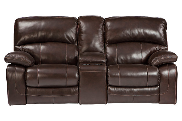 ... Damacio Glider Reclining Loveseat With Console, Dark Brown, Large ...