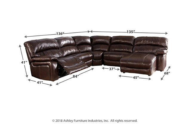 Damacio 5-Piece Reclining Sectional with Chaise and Power, , large