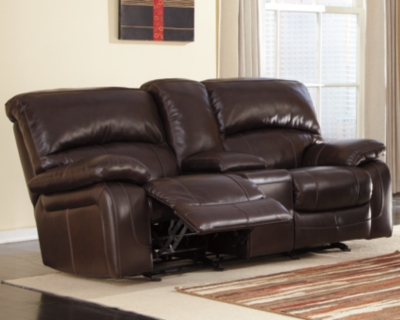 Amazing Reclining Loveseat Console Dark Brown Leather Glider Product Photo