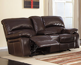 Damacio Glider Reclining Loveseat with Console, Dark Brown, rollover