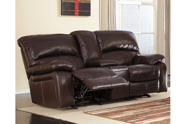 Damacio Glider Reclining Loveseat With Console, Dark Brown, Large ...