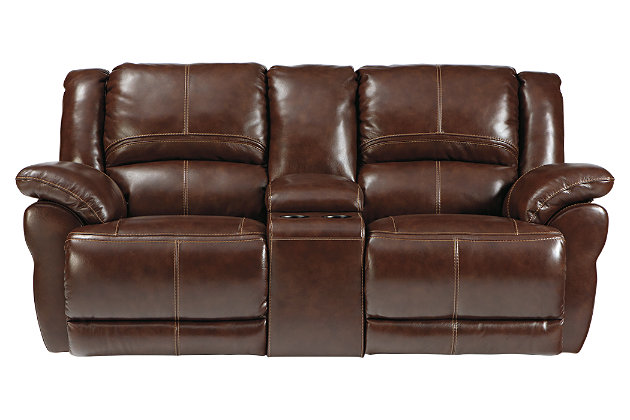 Coffee Lenoris Glider Reclining Loveseat with Console View 2