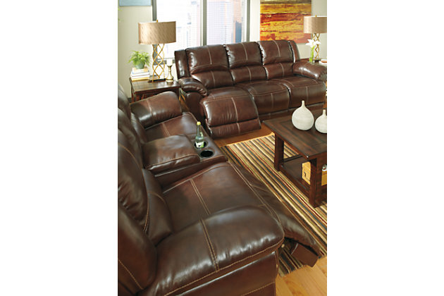 Coffee Lenoris Glider Reclining Loveseat with Console View 5