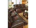 Coffee Lenoris Glider Reclining Loveseat with Console View 3