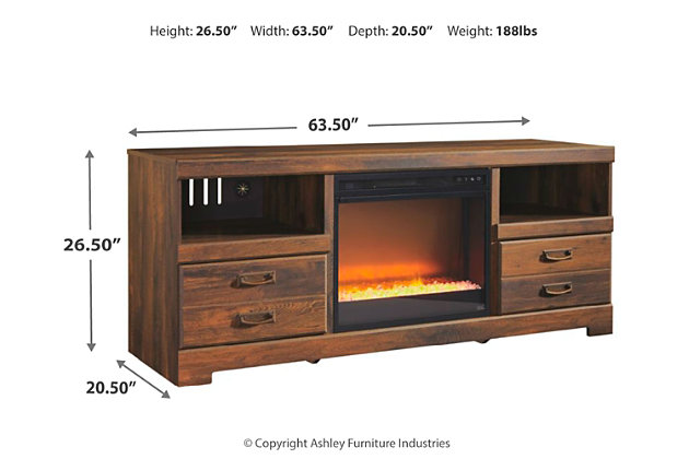 "Quinden 64"" TV Stand with Electric Fireplace, , large"