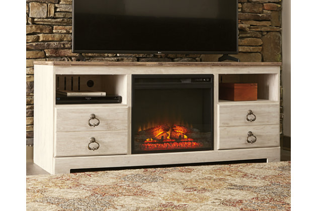 Willowton 64 Tv Stand With Electric Fireplace Ashley Furniture