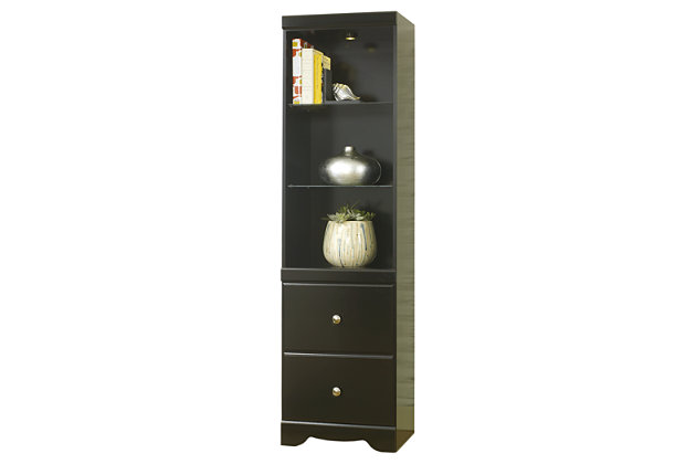 lightned tall black bookcase pier with three glass shelves and two closeable drawers