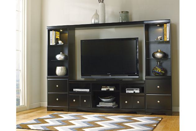 Black Shay 4-Piece Entertainment Wall Unit by Ashley HomeStore