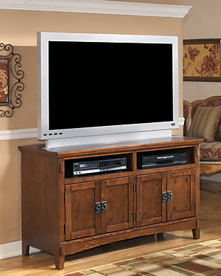 Medium Sized Brown Wooden TV Stand With Double Two Doored Cabinets For Storage