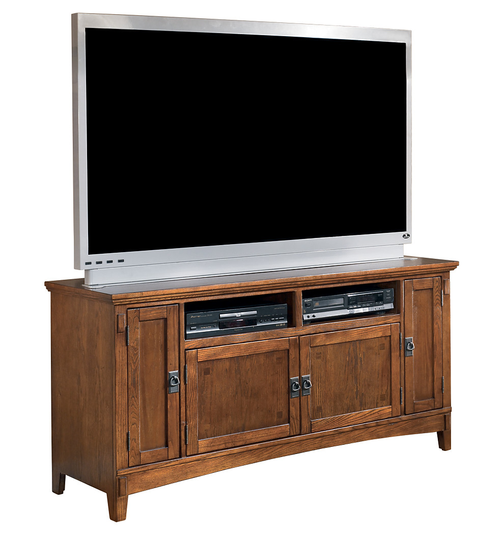 Large Brown Wooden TV Stand With Four Cabinets For Storage To Enhance Your  Living Room