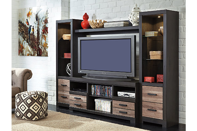 Two Tone Harlinton 4 Piece Entertainment Center View 3